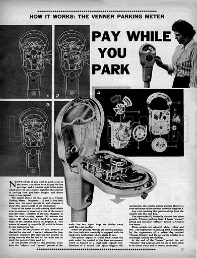 """How it Works: The Parking Meter -- """"Pay while you Park""""."""