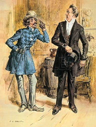 The Hypocrisy of Mr. Pecksniff, illustrating a scene from Charles Dickens' novel, Martin Chuzzlewit as Mr. Pecksniff meets Montague Tigg at the Dragon Inn.  Professionally re-touched image.