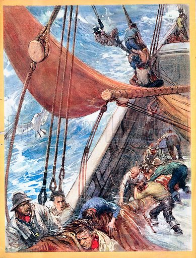 """Two Years Before the Mast, illustration based on Richard Dana's famous adventure novel. """"It blew worse and worse, with hail and snow beating like so many furies on the ship.""""."""