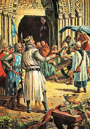 A Pageant of Kings: The Hammer of the Scots -- Edward I. The Scots seize the Coronation Stone which had been moved by Edward to Westminster Abbey. Professionally re-touched image.