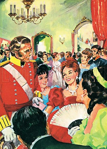 The Arts: Be Kind to Poor Becky! A scene from William Makepeace Thackeray's Vanity Fair. On the eve of Waterloo a great ball was held in Brussels. There Becky (in the red dress) met Captain George Osborne, who had just married her school friend Amelia.  Professionally re-touched image.