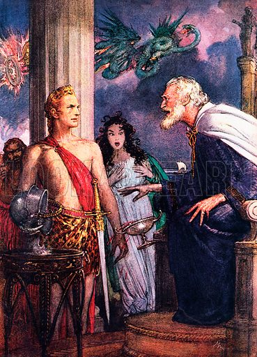 The Arts: Nathaniel Hawthorne – the frightened storyteller. Fear of poverty haunted Nathaniel Hawthorne all his life. Our illustration shows King Aegeus as he staggers down from the throne, flinging aside the poisoned goblet and falling into the arms of Theseus, from Hawthorne's Tanglewood Tales.