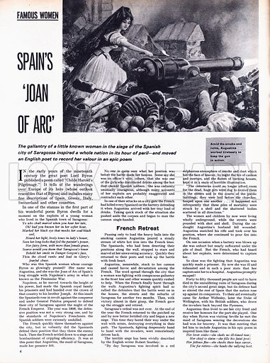 Famous Women: Spain's 'Joan of Arc'. The gallantry of a little known woman in the siege of the Spanish city of Saragossa inspired a whole nation in its hour of peril -- and moved an English poet to record her valour in an epic poem.