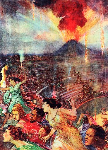 The Arts: The Last Days of Pompeii by Lord Lytton. At the thrilling climax of Lytton's novel, Mount Vesuvius erupts, destroying the ancient town of Pompeii.