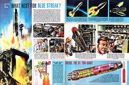 Britain at Work: What Next for Blue Streak? The Blue Streak rocket was launched from Woomera Rocket Range in the Australian desert in 1964.