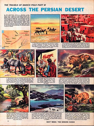 The Travels of Marco Polo: Across the Persian Desert.