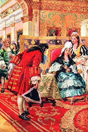 """A Pageant of Kings and Queens: Anne -- When Mrs Morley and Mrs Freeman Ruled England. The Duke of Marlborough returns the golden keys to the royal apartments where Sarah, Duchess of Marlborough, had been the power behind the throne and made Anne """"a crowned slave.""""."""
