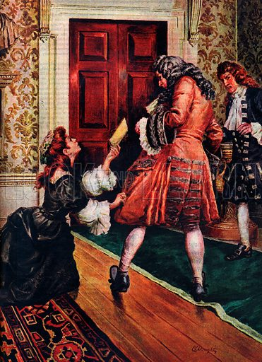 A Pageant of Kings: George I -- The King Who Could Not Speak English. George the First was cold, cruel, selfish, proud and mean -- yet in his reign Britain embarked on a new wave of peace and prosperity. Our illustration shows Lady Nithsdale begging the King for clemency for her husband, one of the Jacobite leaders sentenced to death after the unsuccessful Jacobite rising in 1715.