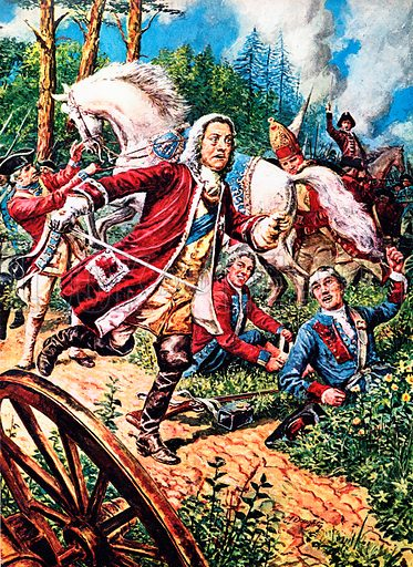 A Pageant of Kings: George II -- The Last of the Fighting Kings. At the Battle of Dettingen (1743) where George, leading the combined English and Hanoverian armies against the French, became the last British king to lead his men into battle.