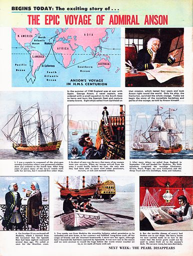 The Epic Voyage of Admiral Anson. In 1740, Captain George Anson was sent by the British Navy to the South Seas to harry the Spanish fleet, but ended up making a remarkable round the world trip which lasted four years.