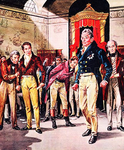 A Pageant of Kings: William IV -- The Triumph of the Reformers. Accompanied by his Whig Party ministers, William goes to the House of Commons to dissolve Parliament in 1831. Lord Grey (behind the king in our illustration) had asked for the move to be taken after the Tories had defeated the Reform Bill.