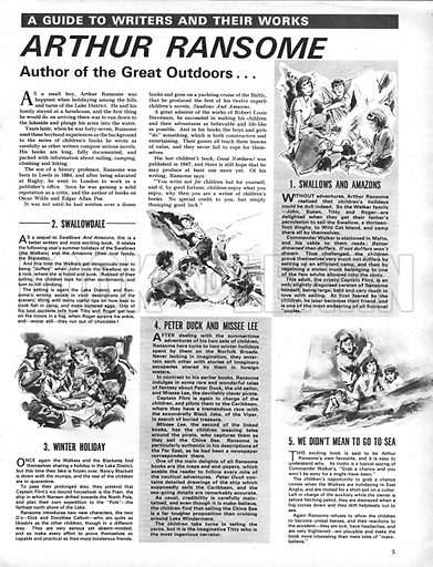 A Guide to Writers and Their Work: Arthur Ransome, Author of the Great Outdoors.