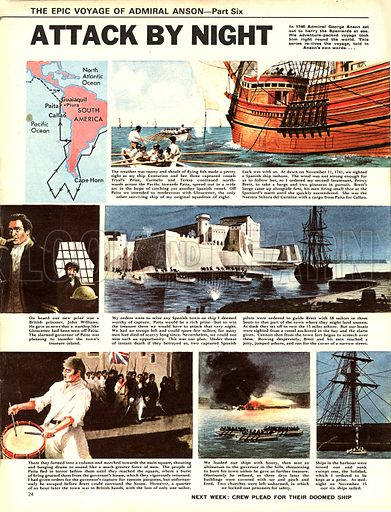 Epic Voyage of Admiral Anson: Attack by Night.