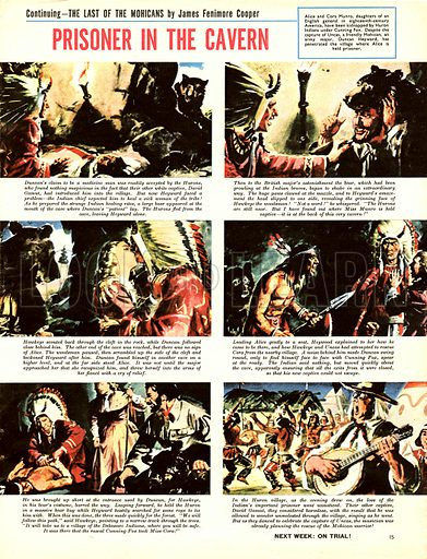 Last of the Mohicans. Comic strip based on the novel by James Fenimore Cooper.