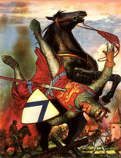 The Wonderful Story of France: The Vikings Strike at France. Our illustration shows William the Conqueror falling from his horse as he was riding through the ruins of a French town.