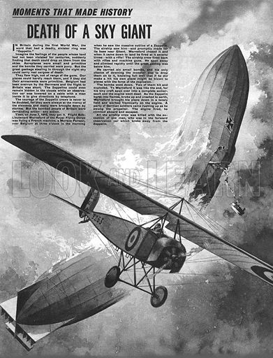 Moments That Made History: Death of a Sky Giant -- Flight Sub-Lieutenant Warneford attacks a Zeppelin over Ghent.