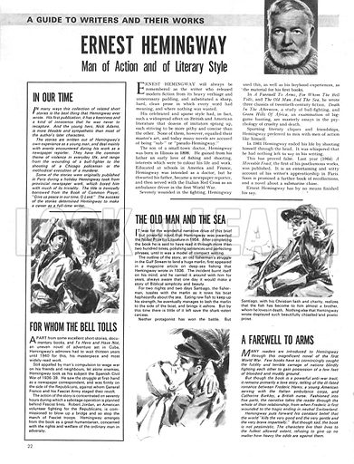 A Guide to Writers and Their Works: Ernest Hemingway -- man of action and literary style.