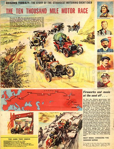 The Ten Thousand Mile Motor Race. In 1907, five cars set out from Peking in China to travel 10,000 miles across Asia and Europe to Paris.