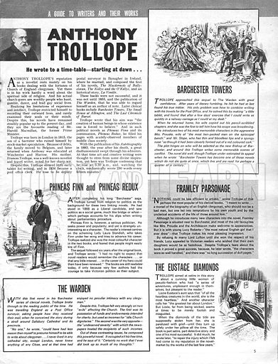 A Guide to Writers and Their Works: Anthony Trollope. He wrote to a time-table... starting at dawn.