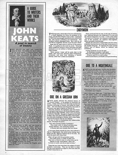 A Guide to Writers and Their Works: John Keats -- a poet in search of beauty.