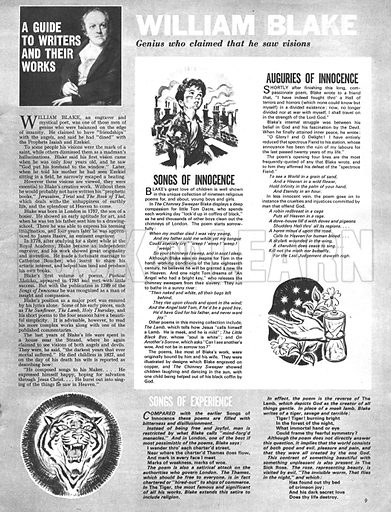 A Guide to Writers and Their Works: William Blake -- genius who claimed that he saw visions.