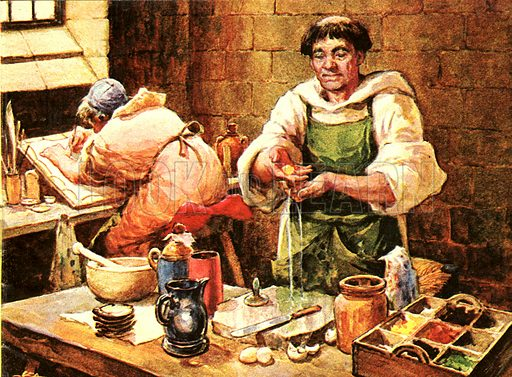 How the Artist Works: Take an egg -- and some paint... Tempera is the earliest known form of painting. To use it, the artist had to mix his paints with egg and wine and he could not afford to make the slightest mistake.