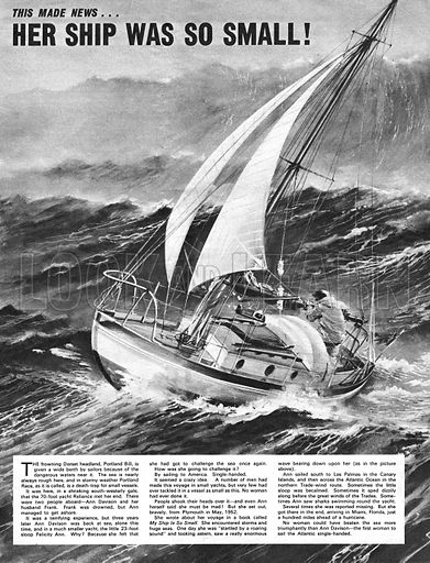 This Made News: Her Ship Was So Small! – Ann Davison was the first woman to cross the Atlantic solo in her sloop, Felicity Ann, in 1952.