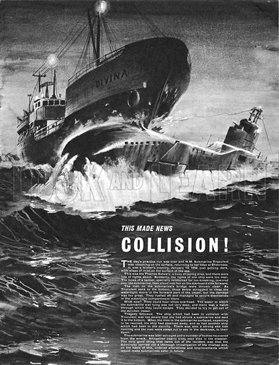 This Made News: Collision! – in 1952, HM Submarine Truculent was steaming towards its base when it collided with the Divina and was sent to the bottom of the Thames Estuary.
