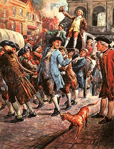 Britain's Prime Ministers: Tax That Started a War -- George Grenville's Stamp Act led to a revolt amongst the colonists of America and tried to stamp out the free press in Britain. John Wilkes, seen here returning from Paris, was saved from arrest by a mob of citizens.
