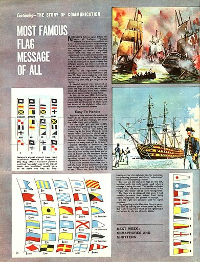The Story of Communication: Most Famous Flag Message of All. Nelson's famous signal before the Battle of Trafalgar -- England Expects That Every Man Will Do His Duty.