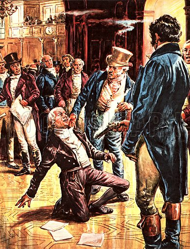 Britain's Prime Ministers: Victim of a Madman – Spencer Perceval was confronted by John Bellingham in the House of Commons. Before anyone could react, Bellingham placed a pistol against Percevel's chest and fired.