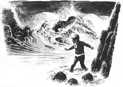 """Trapped!, an illustration accompanying the serialisation of Nina Bawden's On The Run. """"Thundering towards him was the biggest wave Ben had ever seen.""""."""