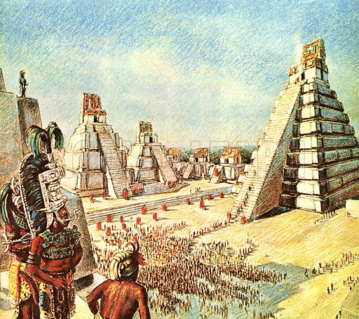 Missing Chapters in the World's Story: Jungle Buries Town for a Thousand Years. Tikal's Grand Plaza as it once was, the scene of splendid ceremonies. It had 100,000 square feet of paving. On the right is the Temple of the Giant Jaguar, with its enormous flight of steps.