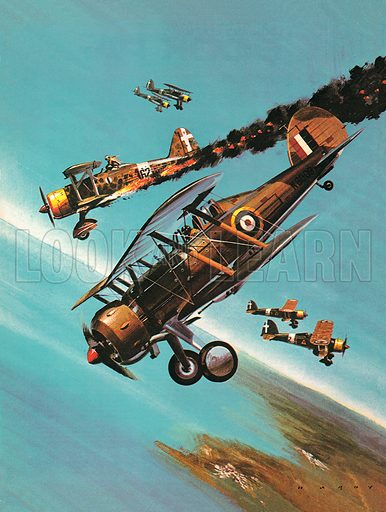 Famous Aircraft and Their Pilots: The Gloster Gladiator -- Squadron Leader Pattle. Professionally re-touched image.