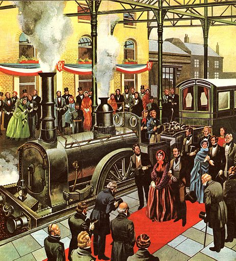 The Age of Great Beginnings -- The Victorian Age saw no greater revolution than the coming of the railway, which the Queen used regularly on her travels. In our illustration we see her arriving at the station with Albert Prince Consort to receive a red carpet welcomes.