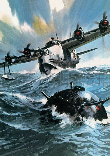 Famous Aircraft and Their Pilots: The Short Sunderland -- Flying Officer G. O. Singleton.  Professionally re-touched image.