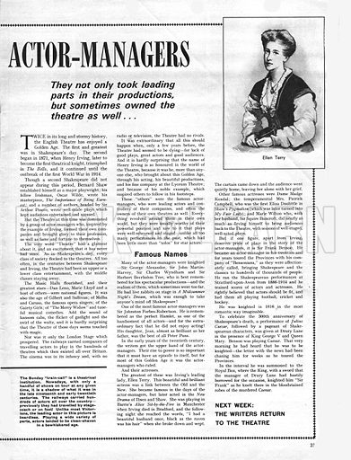 The Romance of the English Theatre: The Reign of the Actor-Managers.