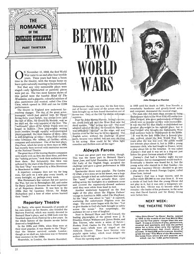 The Romance of the English Theatre: Between Two World Wars.