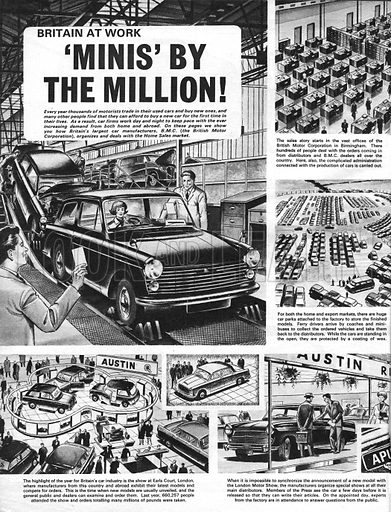 Britain at Work: 'Minis' by the Million! The millionth Mini left the production line in February 1965.