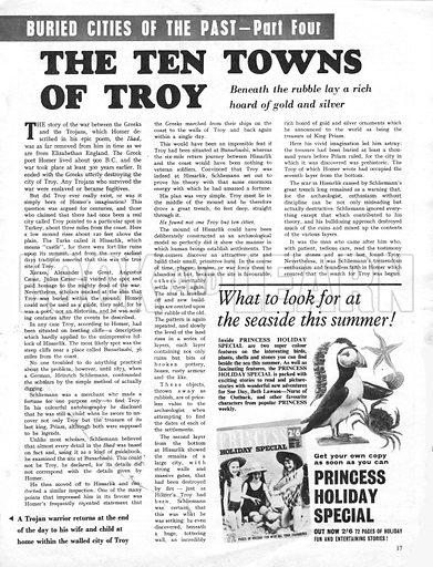Buried Cities of the Past: The Ten Towns of Troy. A Trojan warrior returns at the end of the day to his wife and child at home within the walled city of Troy.