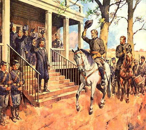 Famous Horses in Fact and Fiction: General Lee and his horse 'Traveller' surrenders to General Grant.