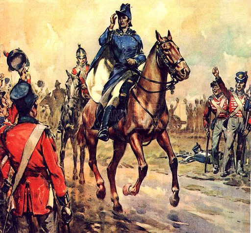 Famous Horses of Fact and Fiction: After the Battle of Salamanca. The Duke of Wellington on his charger, Copenhagen. The horse was later buried with full military honours.