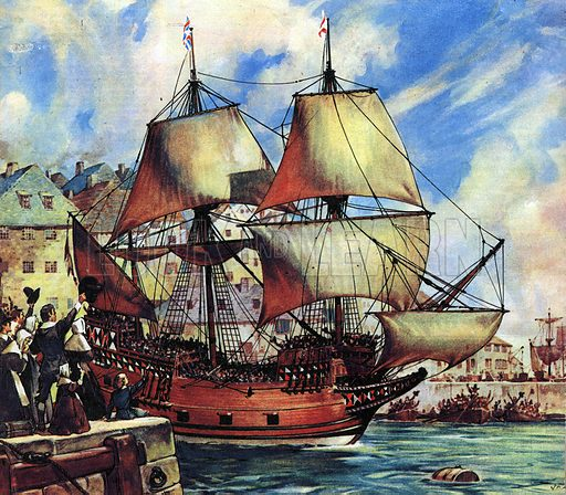 Famous Ships: The Mayflower Leaves Plymouth.