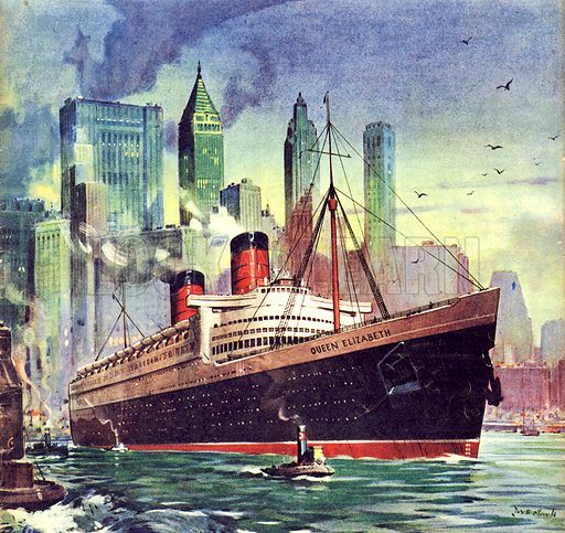 picture, RMS Queen Elizabeth, liner, ship, boat