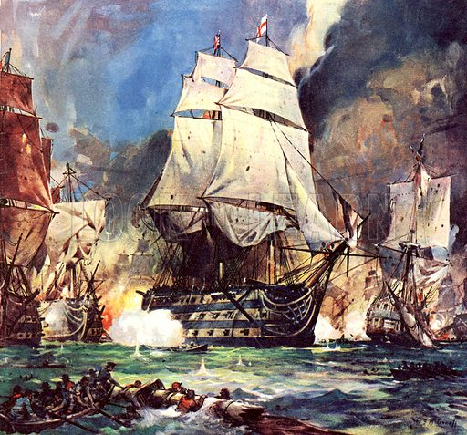 Famous Ships: HMS Victory at the Battle of Trafalgar.