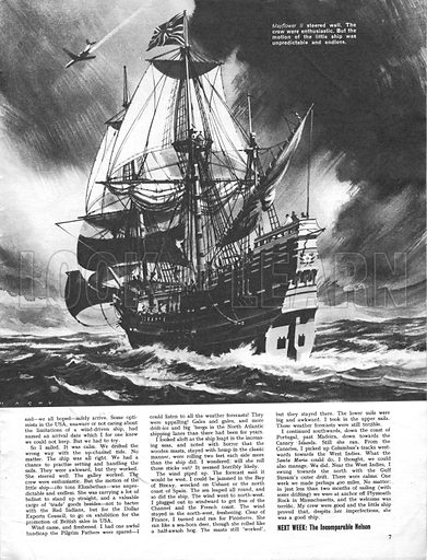 The Seafarers: Voyage of the Mayflower II. Sailing a replica of the famous boat of the Pilgrim Fathers from Plymouth, Devon, to Plymouth, Massachusetts, in 1957.