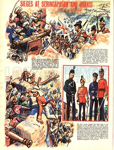 My Scrapbook of the British Soldier: Sieges at Seringapatam and Jhansi.