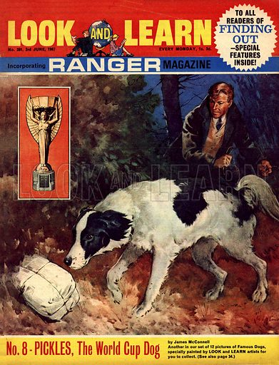 Famous Dogs: Pickles, the World Cup Dog. Pickles hit the headlines in March 1967 when he and his owner, David Corbett, found the World Cupp which had been stolen from the National Stamp Exhibition.