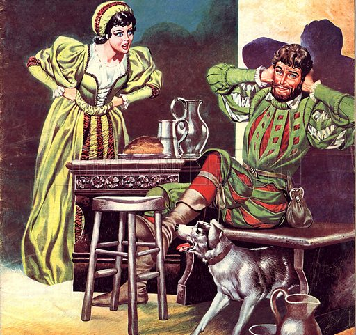 Famous Couples: Petruchio and Katherine, from Shakespeare's comedy, The Taming of the Shrew.