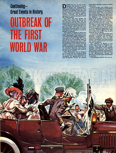 Great Events in World History: Outbreak of the First World War. The assassination of Archduke Franz Ferdinand, heir to the Austrian throne, provided the first spark that was to lead to conflict across Europe.